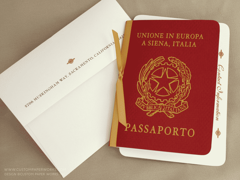 Italy passport invitation for destination wedding in Siena