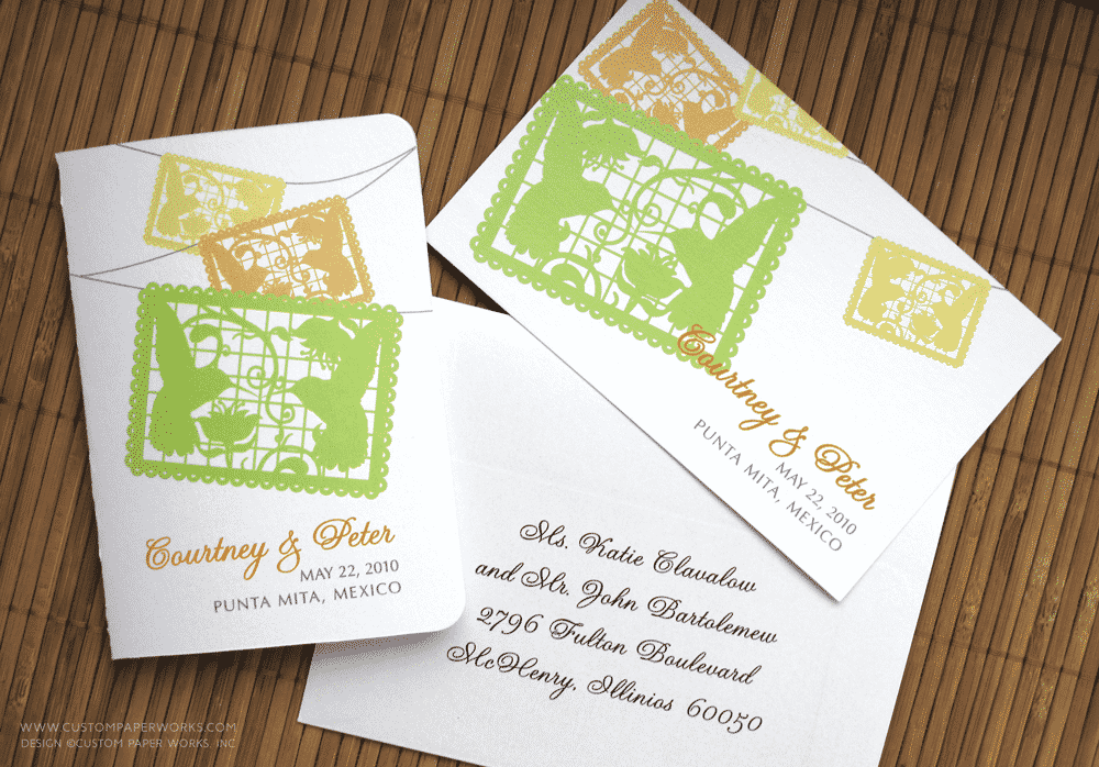 Papel picado invitation for destination wedding in Mexico