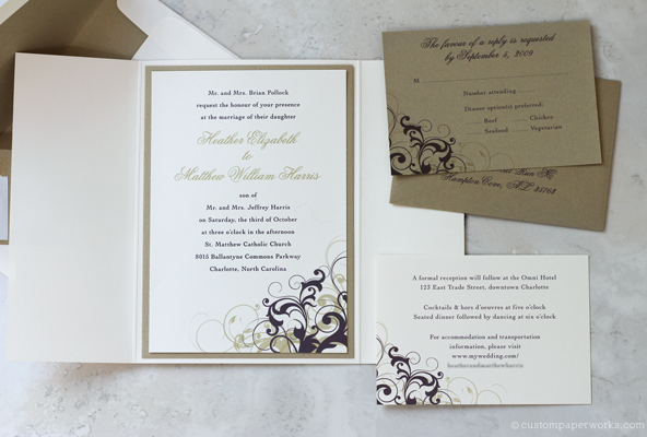 Ivory, gold and plum wedding invitation with swirly graphic in the corner.