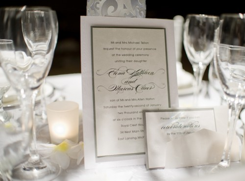 Silver and White Wedding Invitations
