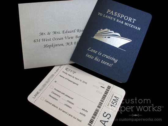 blue silver cruise themed bar mitzvah invitations custom paper works