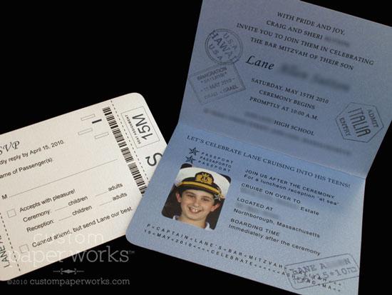 Cruise-Themed Bar Mitzvah Invitations – Custom Paper Works