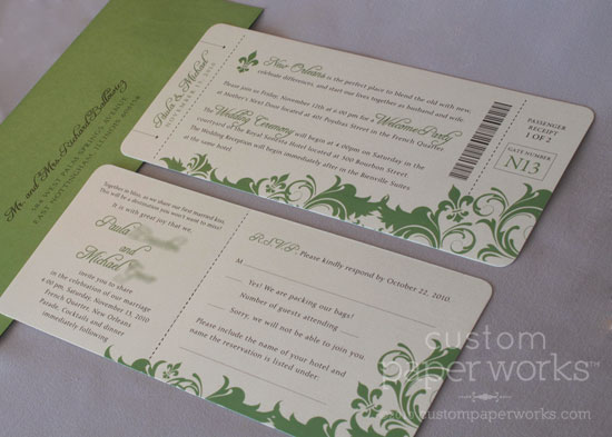 Wedding Invitations New Orleans: Destination New Orleans: Plane Ticket Invitations
