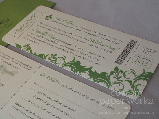 Damask boarding pass plane ticket invitations