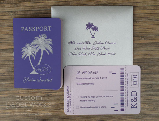 Purple palm tree passport invitations custom paper works for Stamps for wedding invitations canada