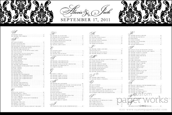 white damask seating chart for wedding reception.