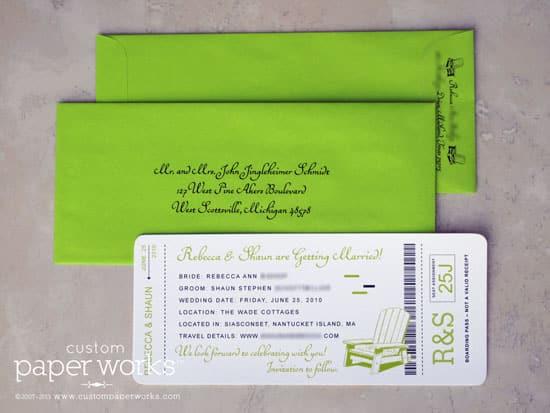 Neon green boarding pass invitations for Nantucket wedding
