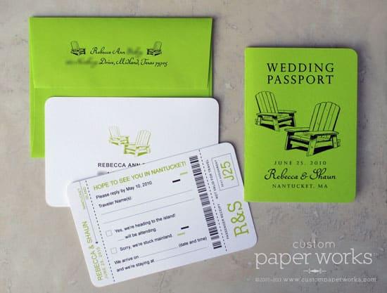 Neon green passport invitations for Nantucket wedding