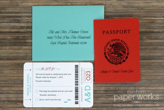 Bright orange coral and aqua passport invitation