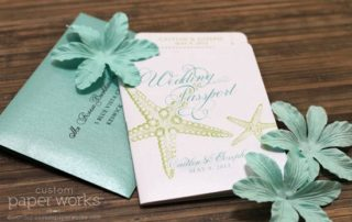 Starfish passport wedding invitation for a beach wedding