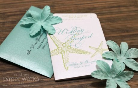 Starfish passport wedding invitation for a beach wedding