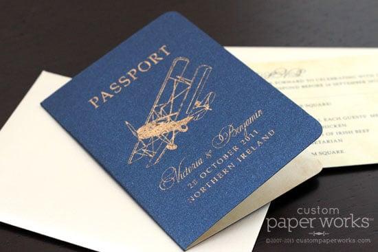 Vintage airplane on passport wedding invitation