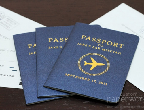 Bar Mitzvah Passport Invitations with Airplane Emblem