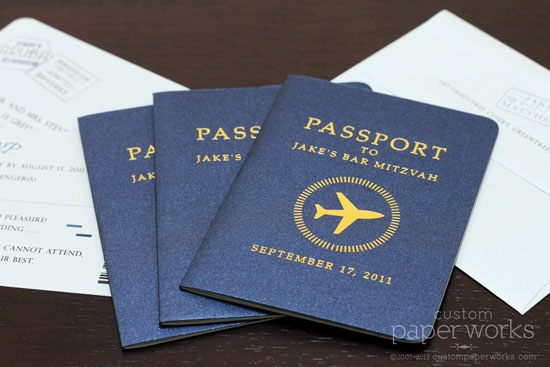 Passport mitzvah invitation with gold airplane emblem