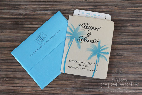 aqua blue tropical passport wedding invitation with palm trees