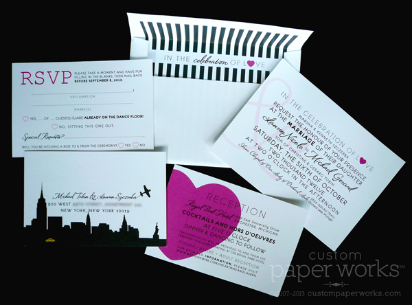 New York Theme Wedding Invitations
