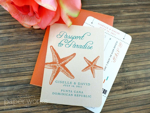 Orange coral and aqua starfish passport invitation designed by Custom Paper Works