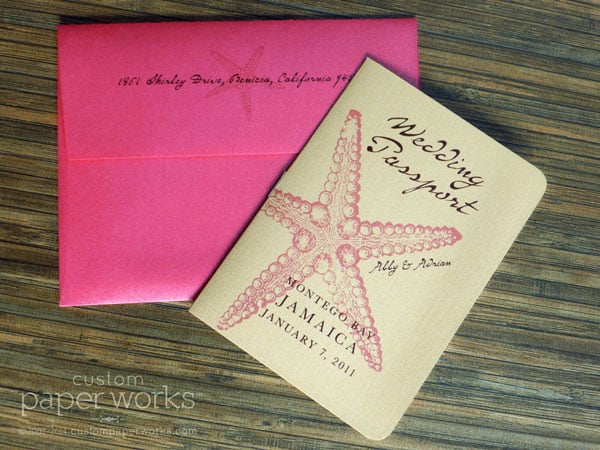 Pink and gold starfish passport wedding invitation