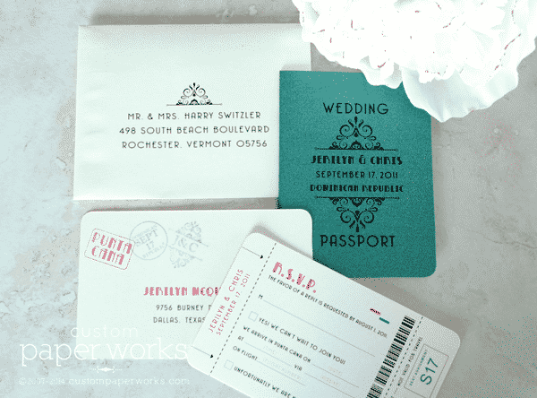 Green and Ivory Art Deco Style Passport Wedding Invitation