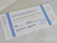 Blue and white greek themed high school prom tickets