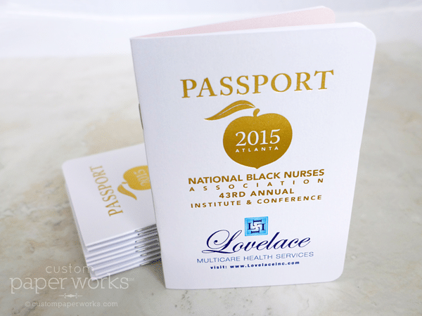 Booklet resembling a passport for conference attendee raffle