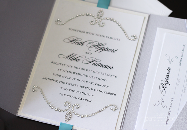 Crystalized Pocketfold Invitations Custom Paper Works