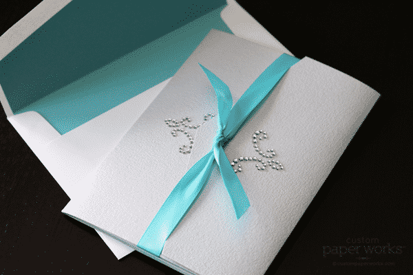 Silver and aqua custom crystal pocketfold wedding invitation