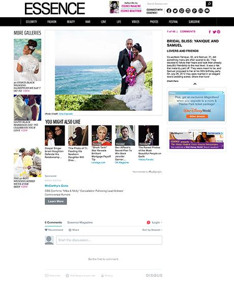 Wedding feature on essence.com