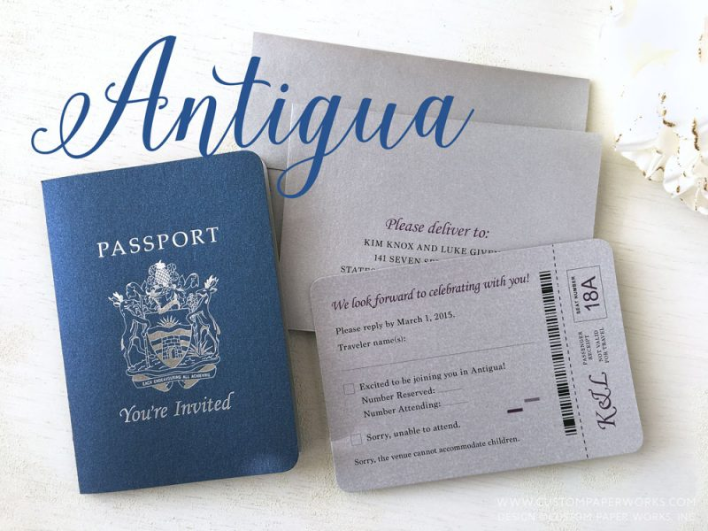 Antigua destination wedding invitation by Custom Paper Works