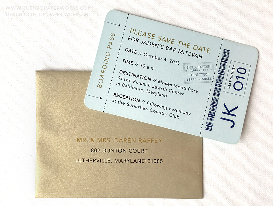 Bar Mitzvah Save the Date that looks like a mini boarding pass.