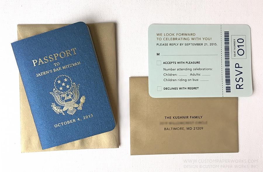 Bar mitzvah invitation that looks like a U.S.A. passport