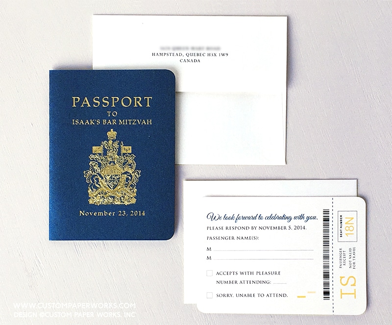Bar Mitzvah invitation that looks like a Canada passport.
