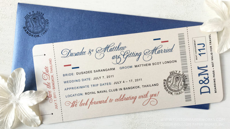 Save the date plane ticket with elegant font
