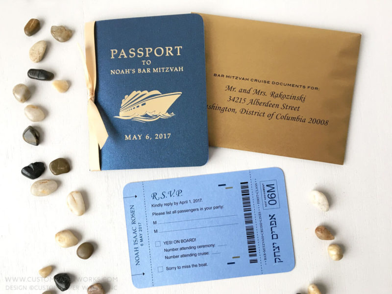 Invitation for cruise bar mitzvah that looks like a passport, in blue and gold colors.