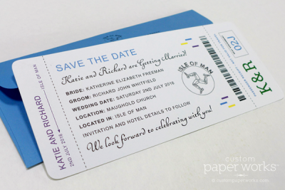 Wedding save the date card that looks like an old school boarding pass plane ticket