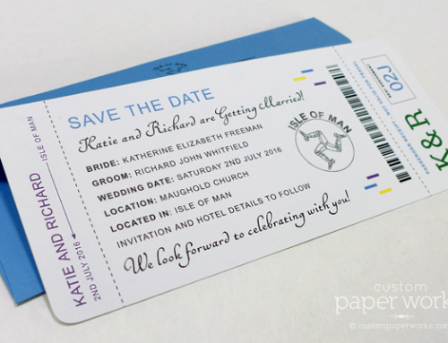 Boarding Pass Save the Dates with Blue & Purple Accents