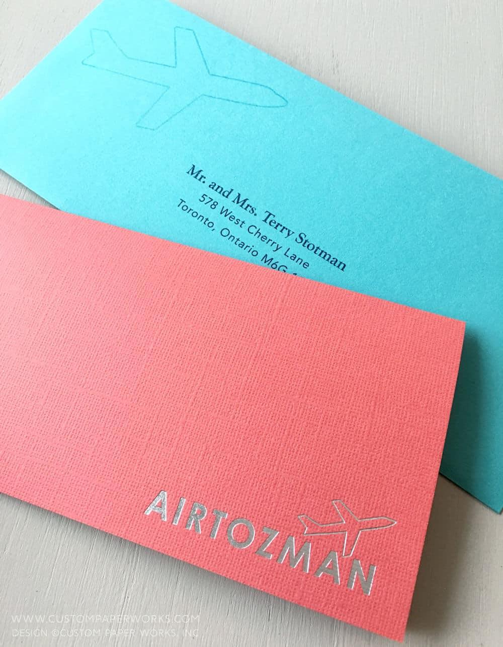 Colorful custom-designed Bat mitzvah boarding pass invitation
