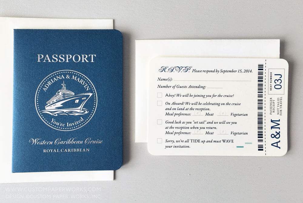 Passport invitations for a cruise ship wedding Custom Paper Works