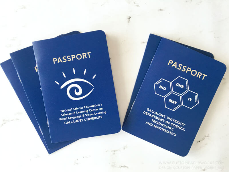 Passport book for university open house by Custom Paper Works