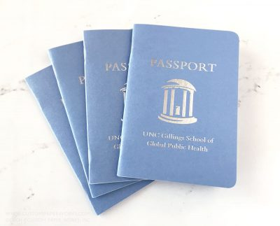 Passport book design for college donor event produced by Custom Paper Works