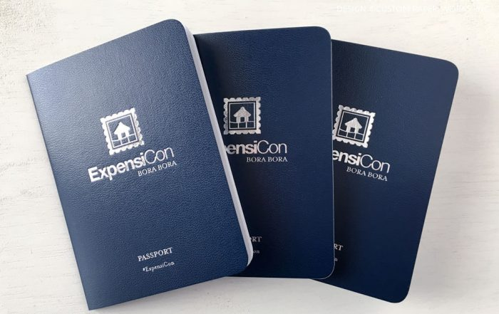 Custom passport booklets for corporate retreat itinerary by Custom Paper Works