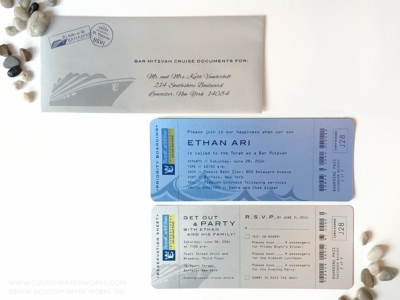 Bar Mitzvah invitation resembling a cruise boarding pass ticket printed on blue and silver paper