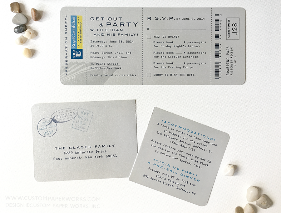 cruise theme bar mitzvah boarding pass invitations custom paper works