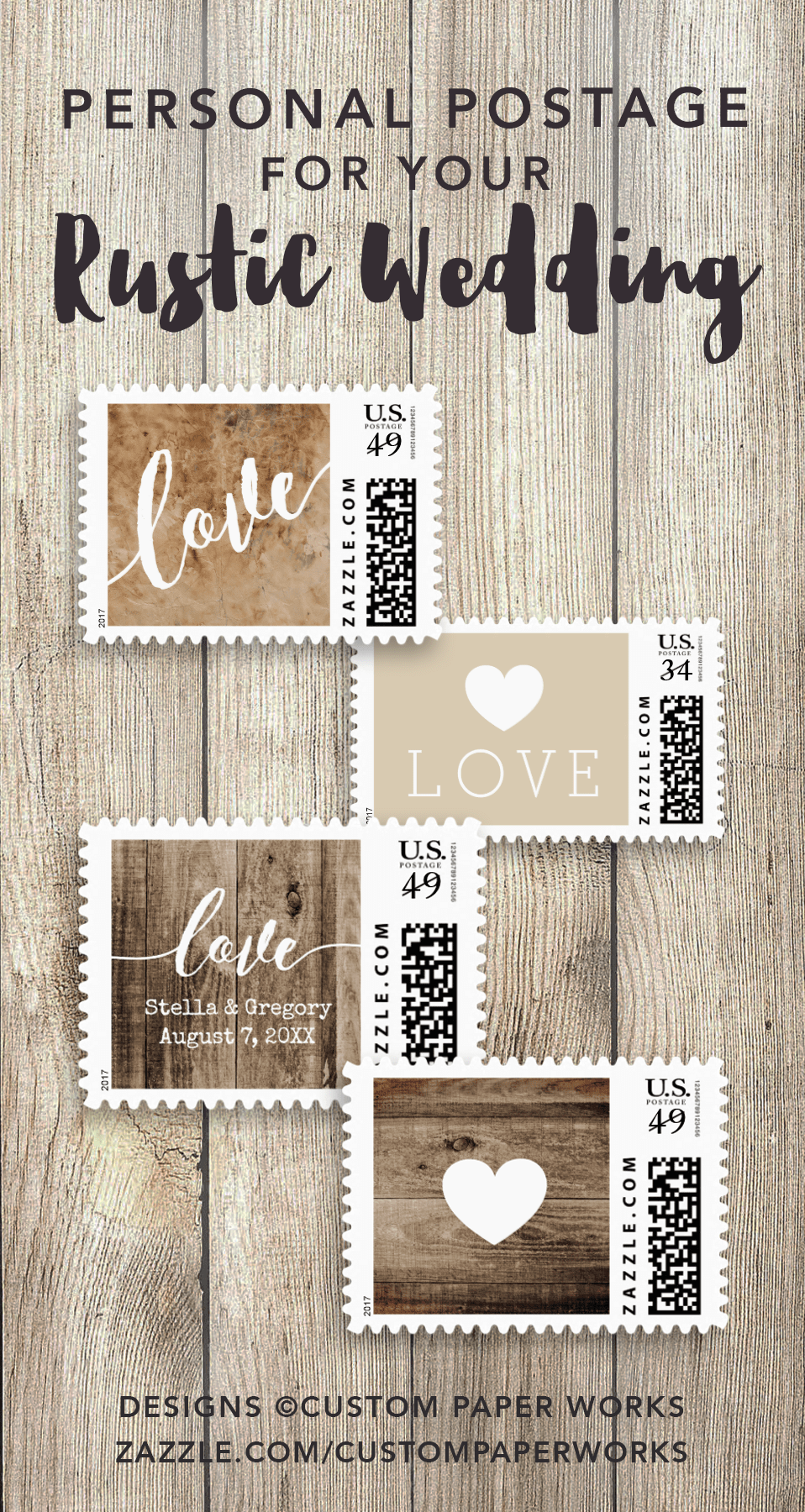 Custom postage stamps for rustic or country theme weddings