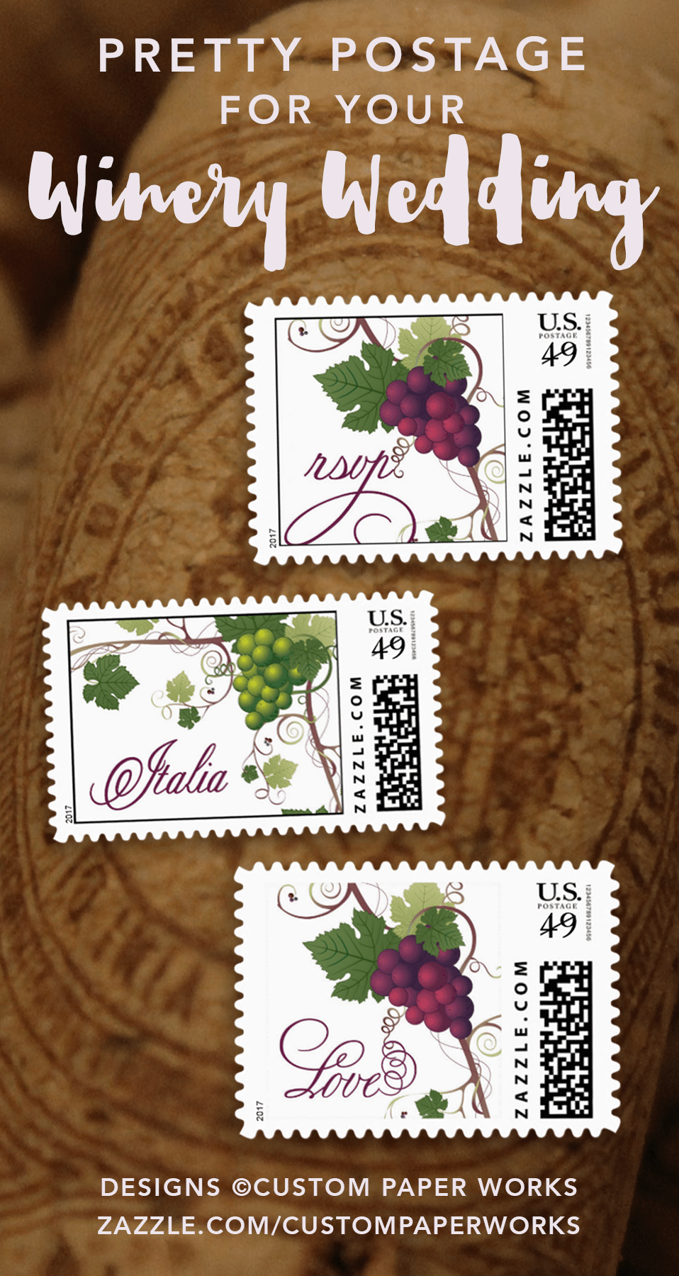 Custom postage stamps for wine and winery weddings