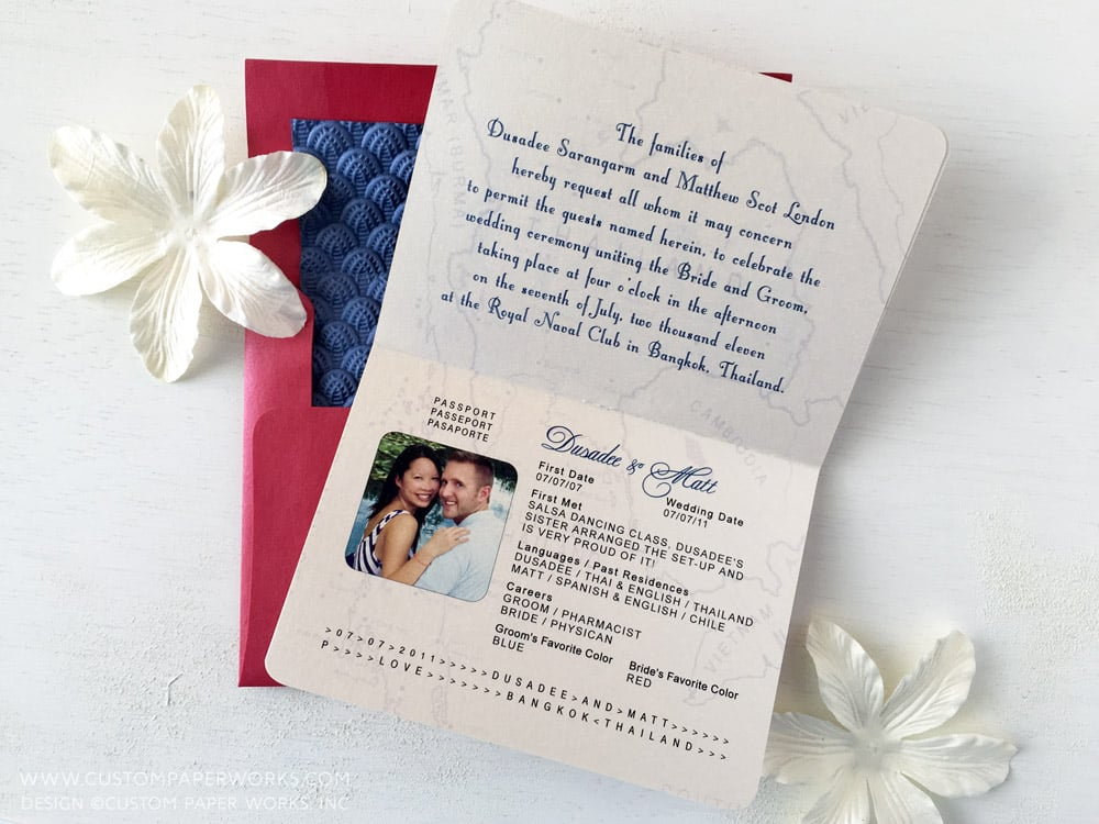 Wedding invitation that looks like a passport designed by Custom Paper Works