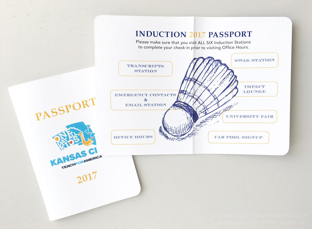 Custom designed passport booklet for corporate event