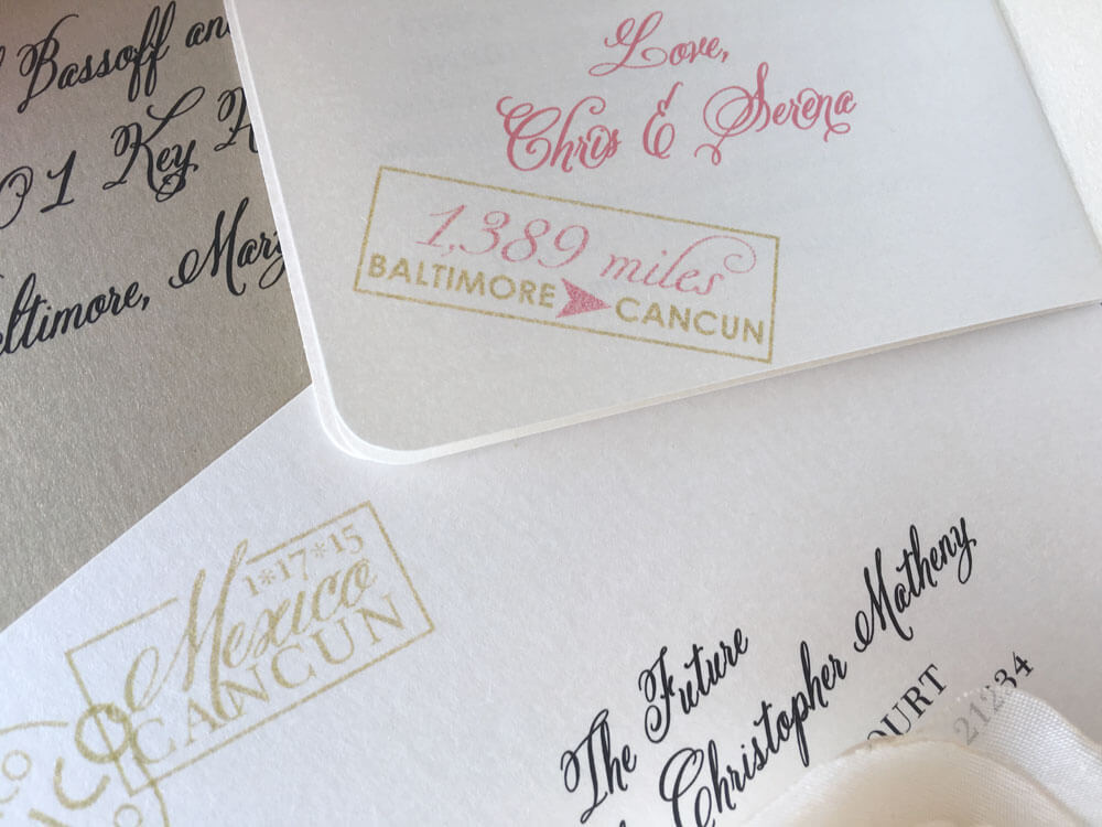 Close up of pretty calligraphic fonts on invitation