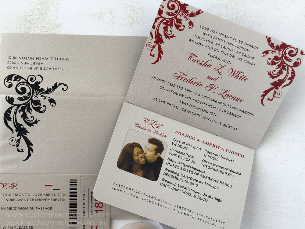 Blue Red and Tan Damask Passport Wedding Invitations Custom Paper