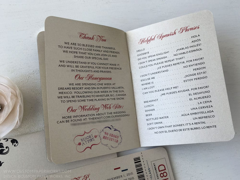Inside pages of wedding passport invitation